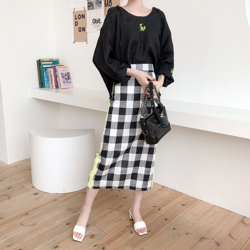 line linen check skirt(black)