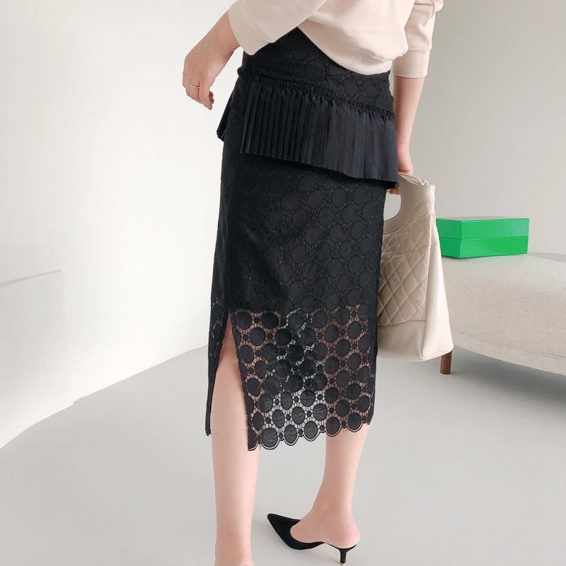 daily embroidery skirt(black)