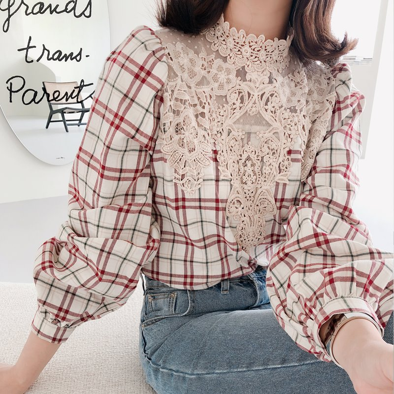 french check fall blouse(2color)