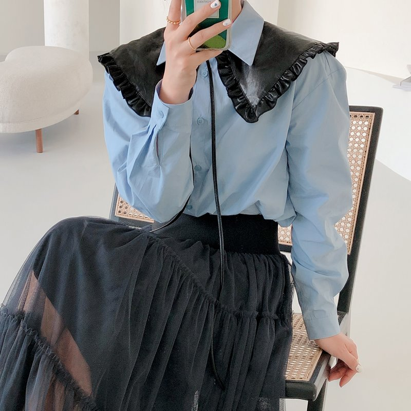 leather cape collar shirt