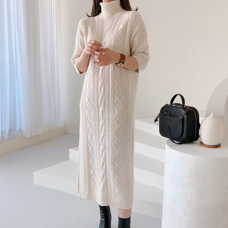 cable knit dress(2color)