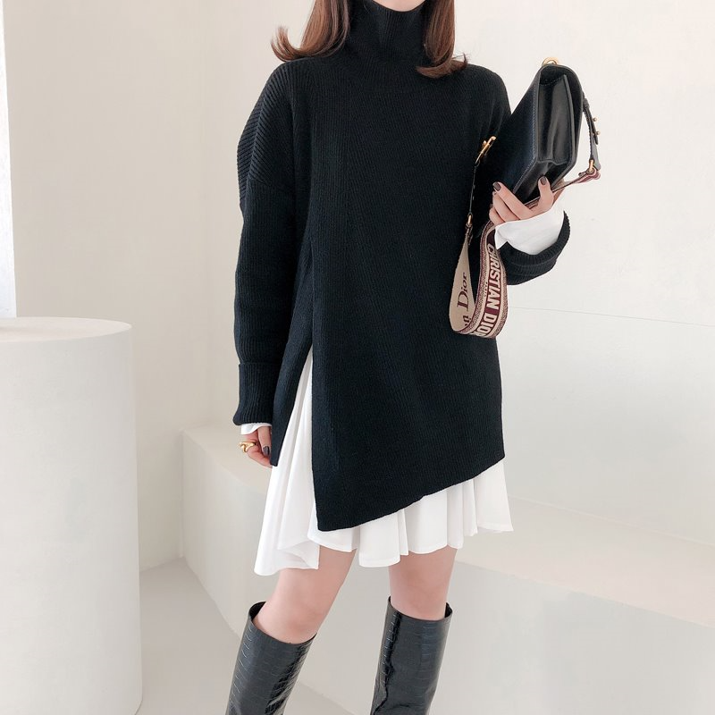 slit turtleneck knit(2color)