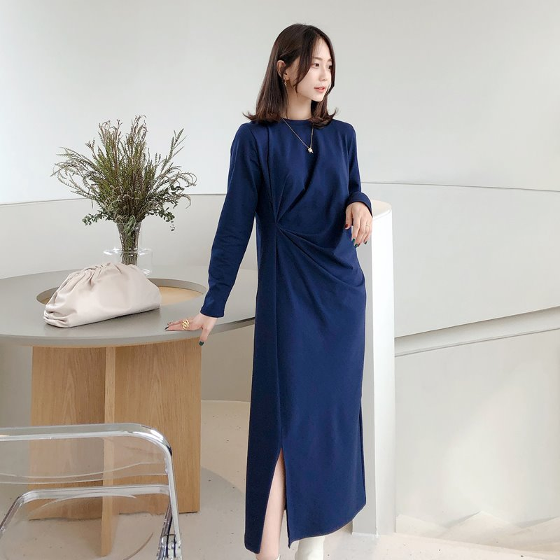 바로배송/bloggerbok easy shirring dress(navy)