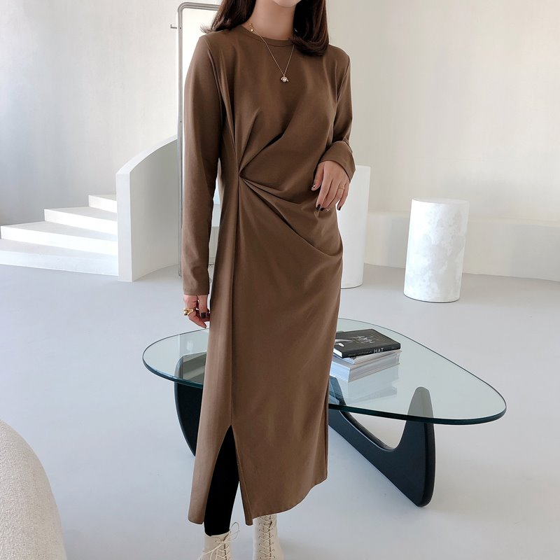 바로배송/bloggerbok easy shirring dress(brown khaki)