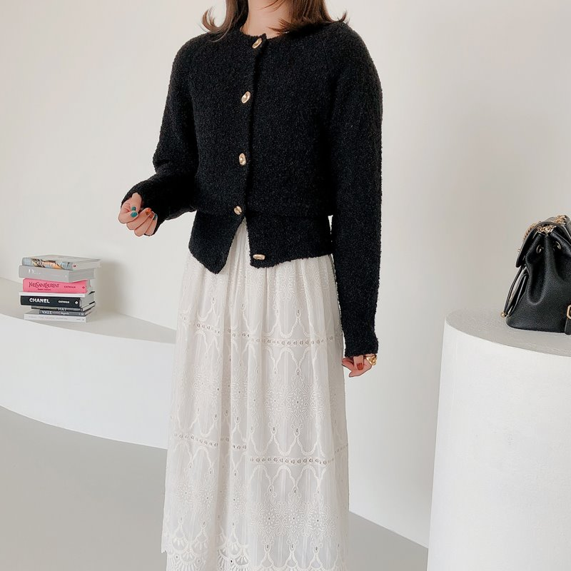 boucle button cardigan