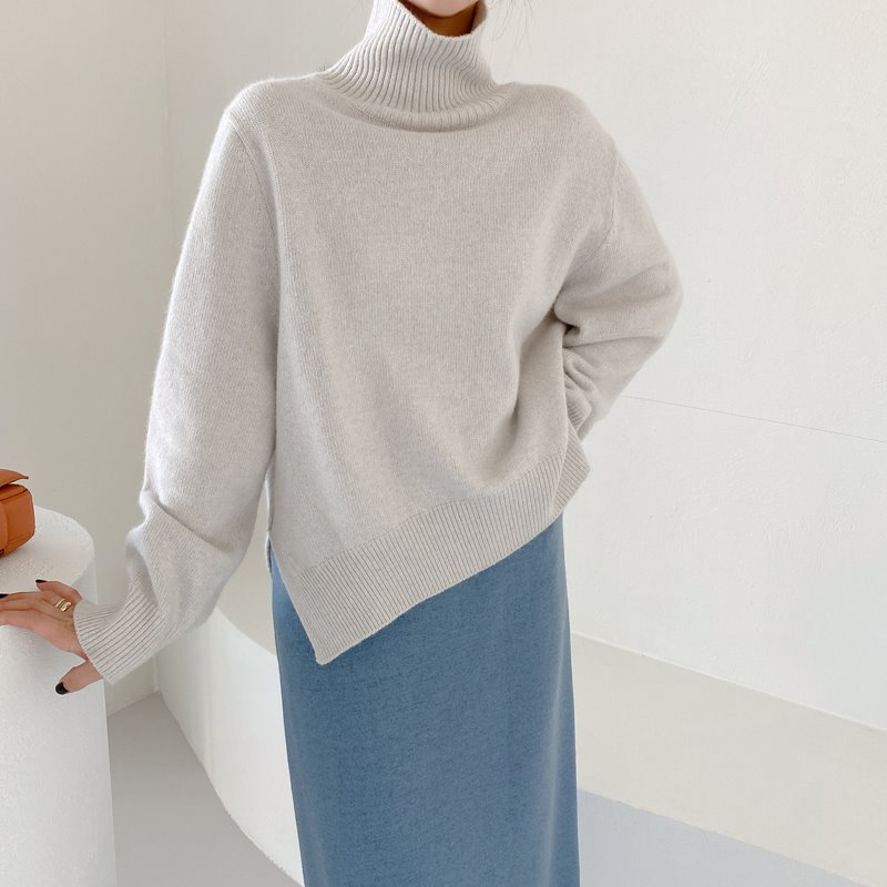 bloggerbok superfine wool turtleneck(oat gray)