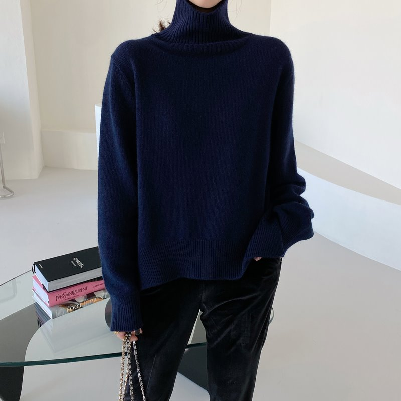 bloggerbok superfine wool turtleneck(royal navy)