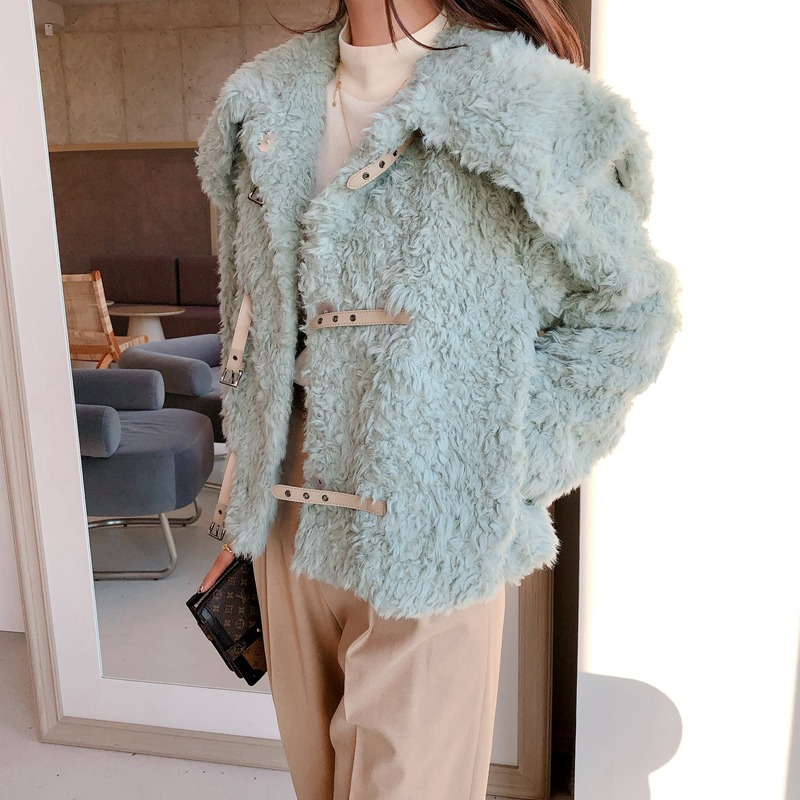 lea fake lamb fur jacket(mint)