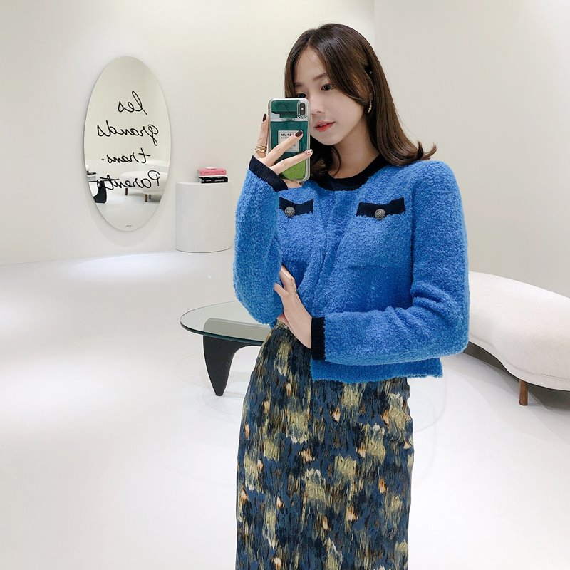 coco crop knit cardigan(blue)
