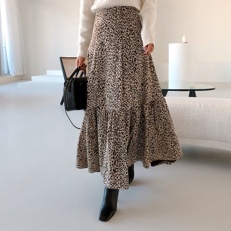 love leopard flare skirt