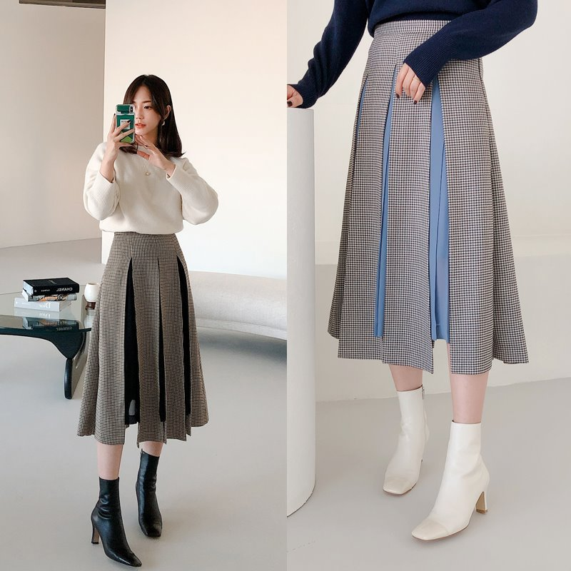 slit flare check skirt(2color)