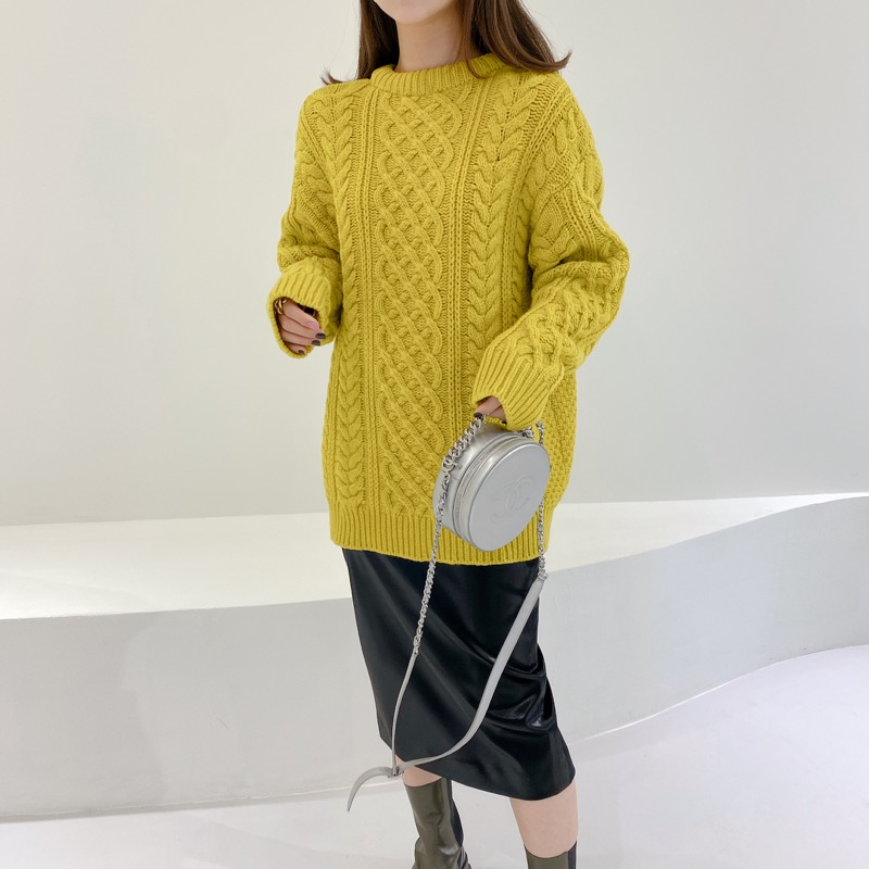 celine cable long knit(올리브)