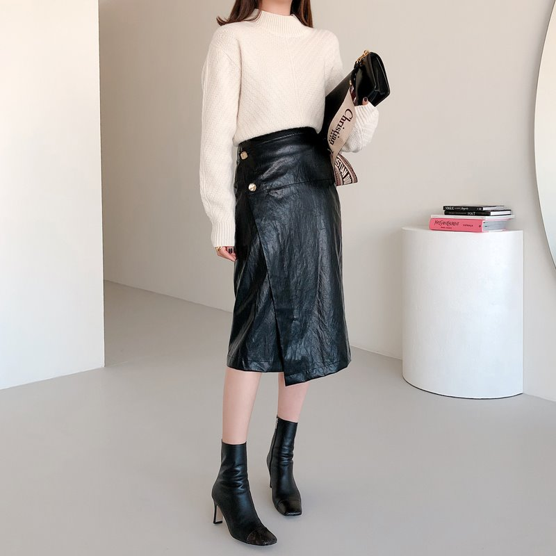 button wrap leather skirt