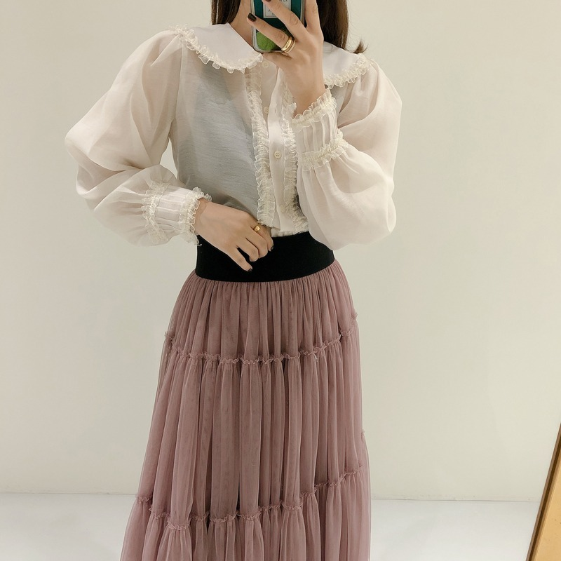love collar layerd blouse(베이지,블랙)