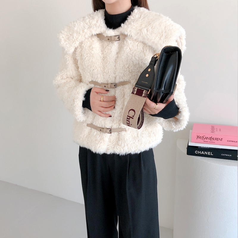 lea fake lamb fur jacket(ivory)