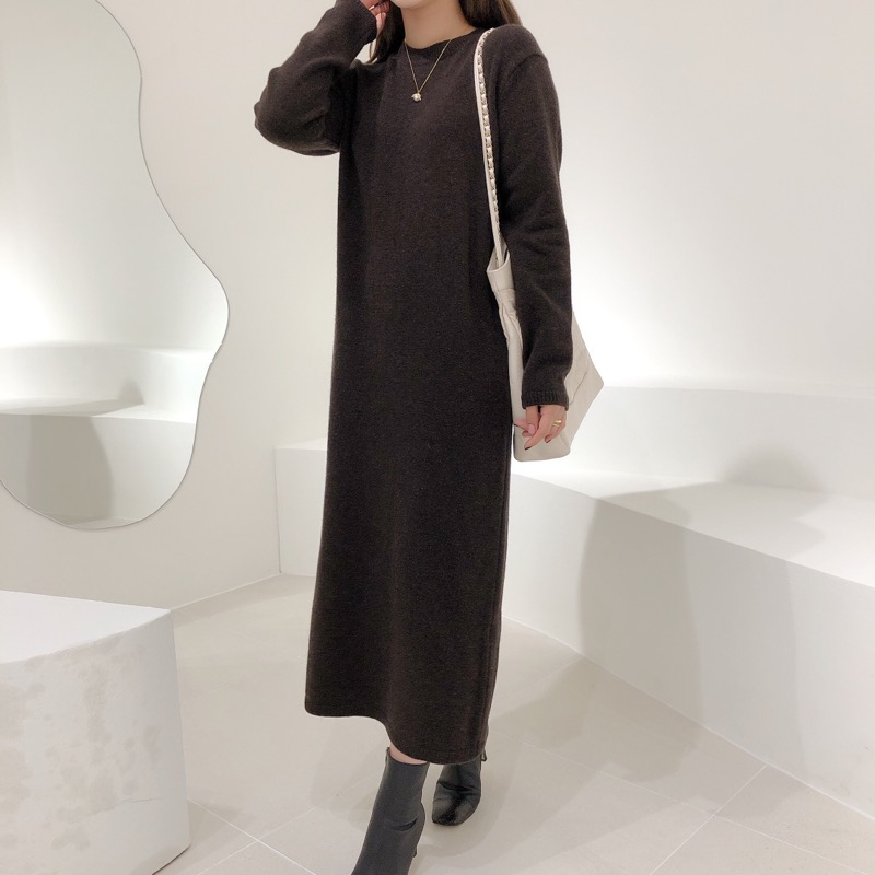 high cashmere knit dress(오트밀,브라운)