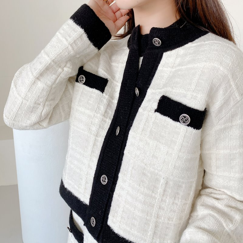 coco check knit cardigan(아이보리,블랙)